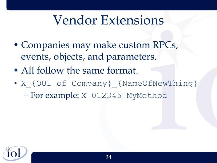 Vendor Extensions