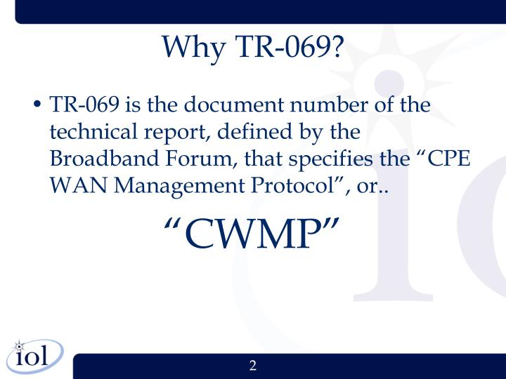 Why tr 069