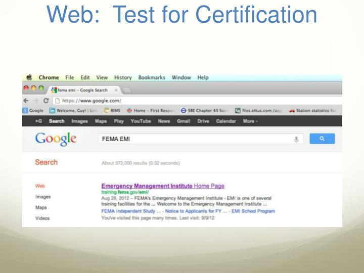 Web test for certification