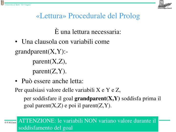 «Lettura» Procedurale del
