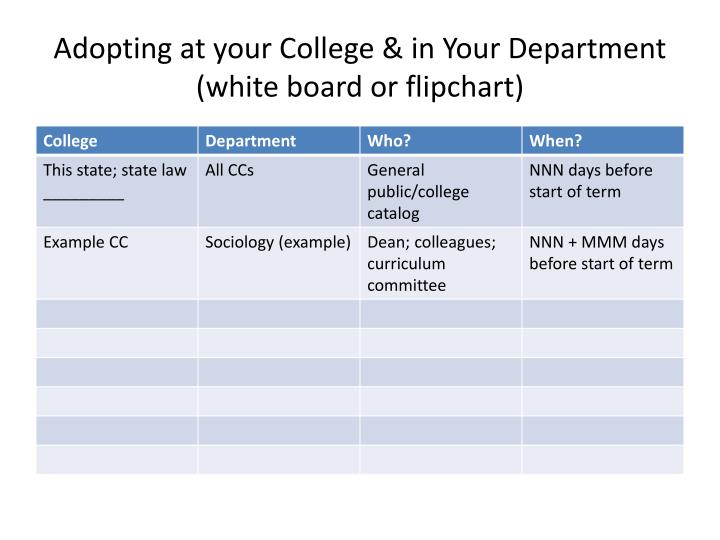 Adopting at your College & in Your Department (white board or flipchart)