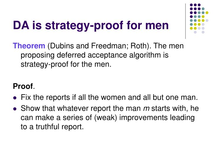 DA is strategy-proof for men