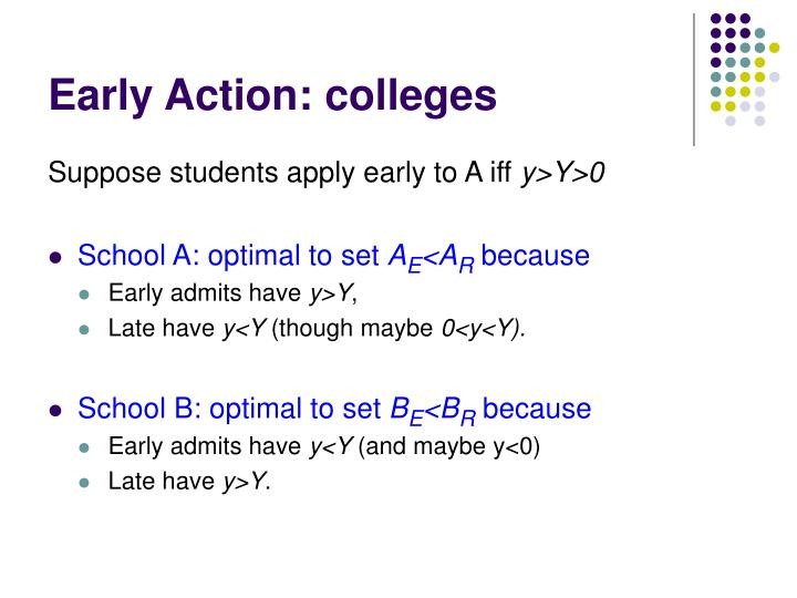 Early Action: colleges