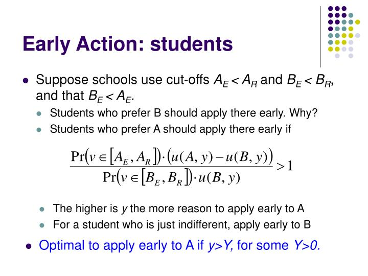 Early Action: students