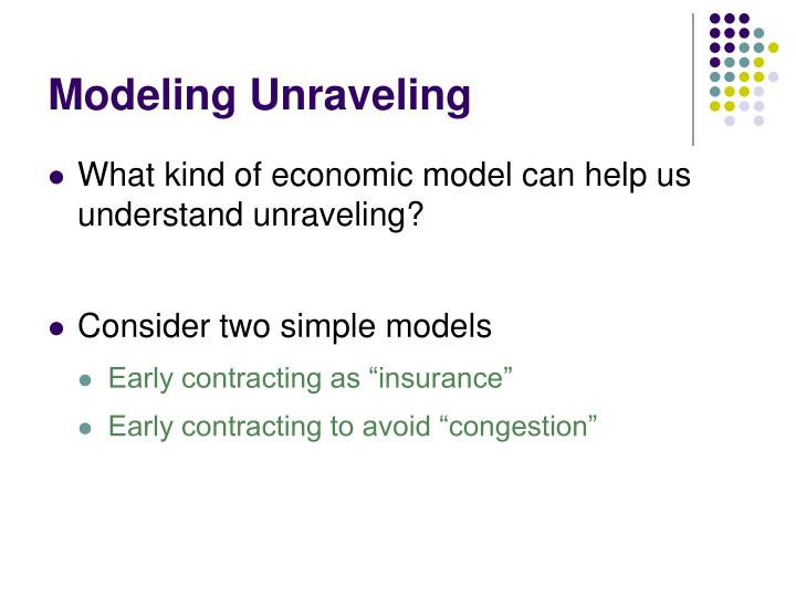 Modeling Unraveling