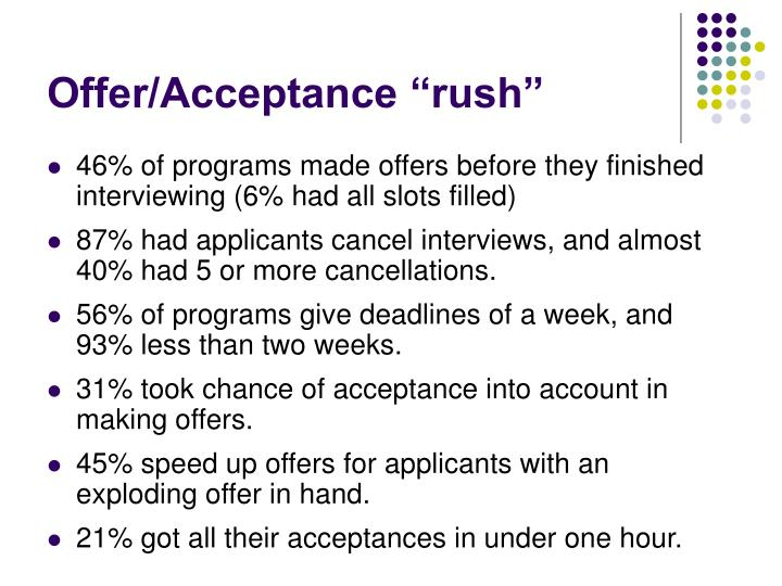 "Offer/Acceptance ""rush"""
