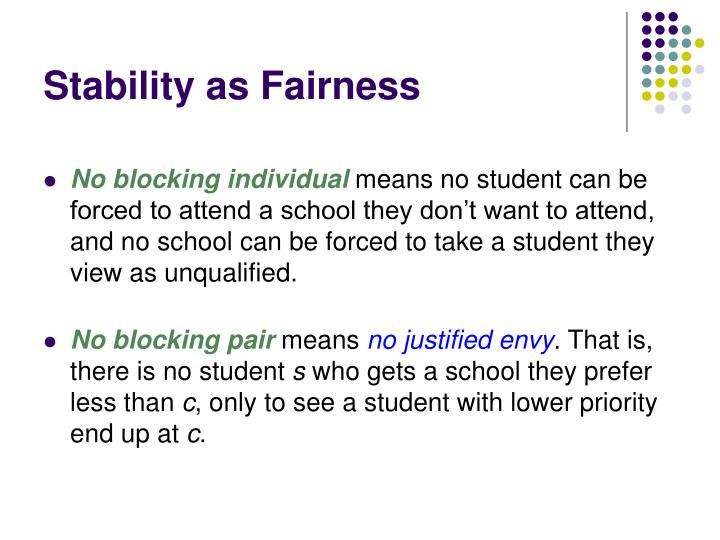 Stability as Fairness