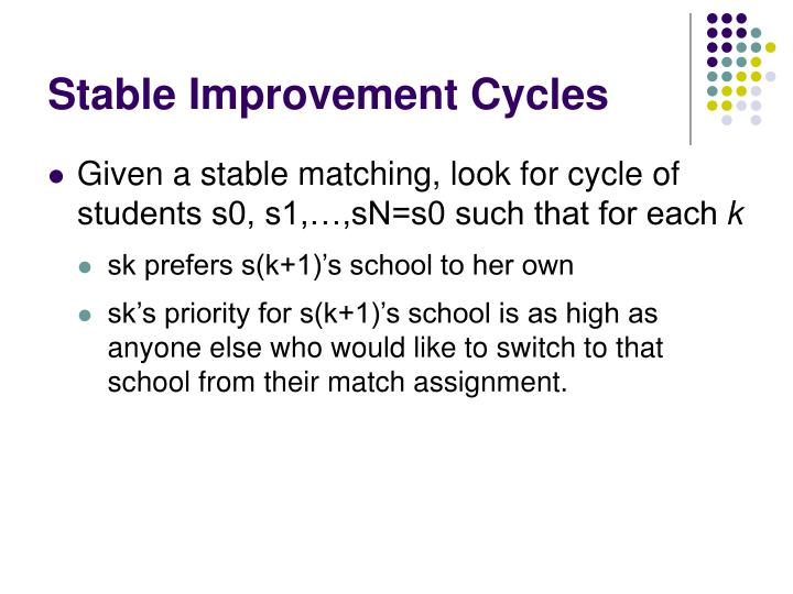 Stable Improvement Cycles