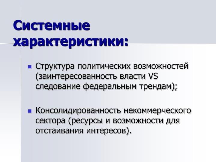Системные характеристики: