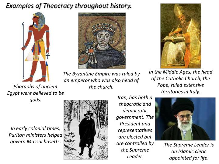 Examples of Theocracy throughout history.