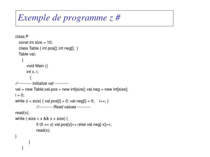 Exemple de programme z#