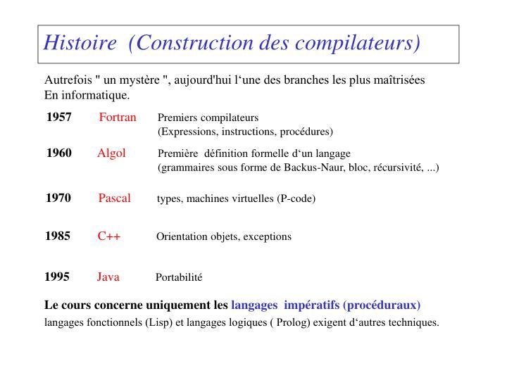 Histoire construction des compilateurs