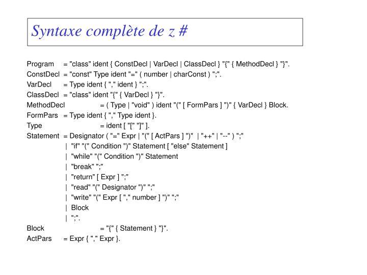 Syntaxe complète de z#