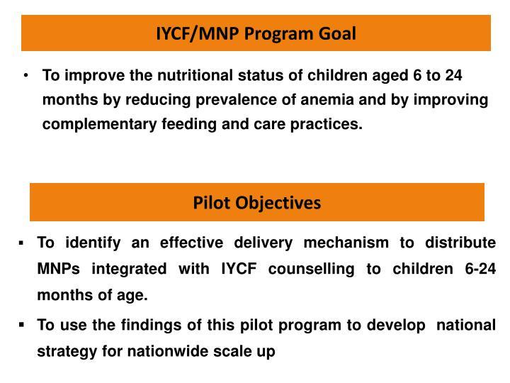 IYCF/MNP Program Goal