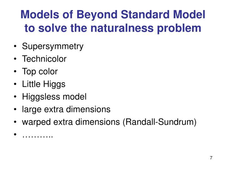 Models of Beyond Standard Model to solve the naturalness problem