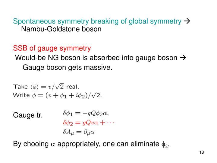 Spontaneous symmetry breaking of global symmetry