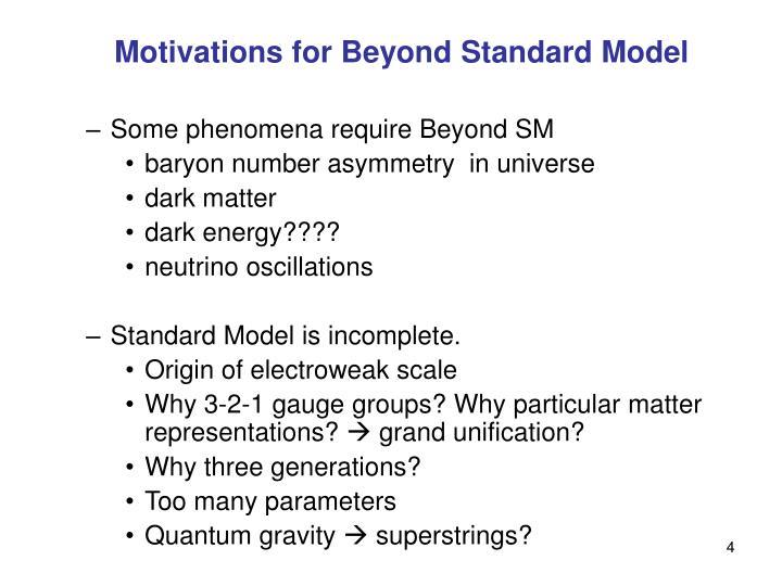 Motivations for Beyond Standard Model