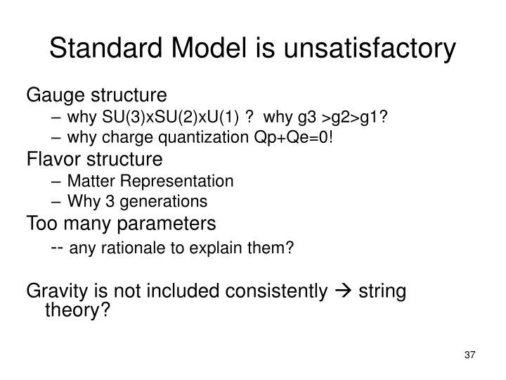 Standard Model is unsatisfactory