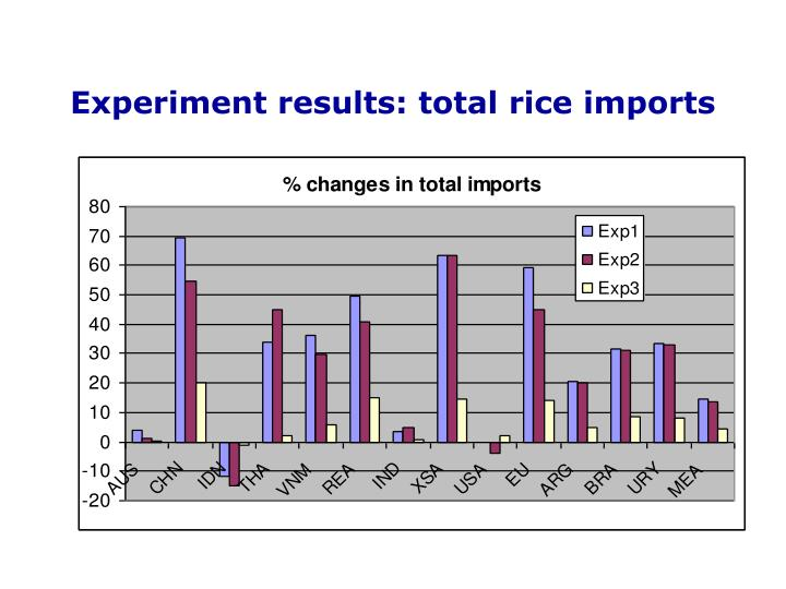 Experiment results: total rice imports
