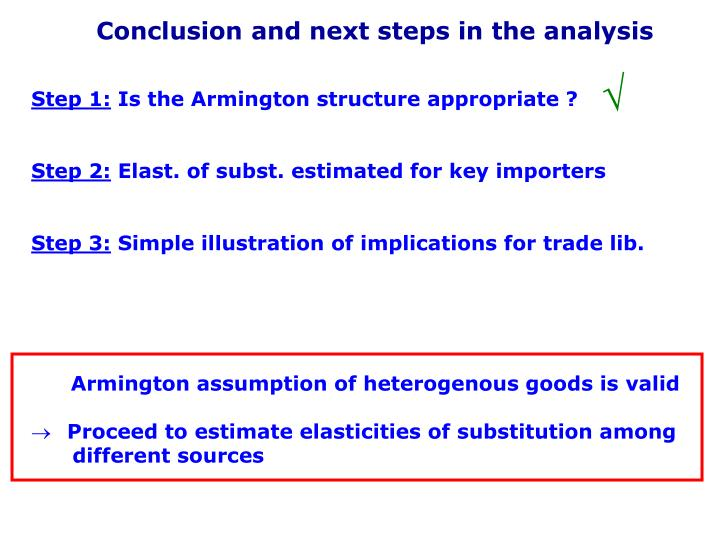 Conclusion and next steps in the analysis