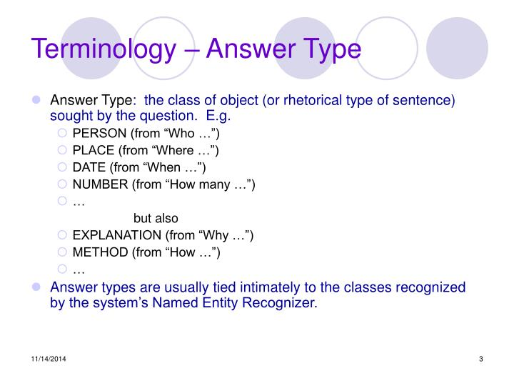 Terminology answer type