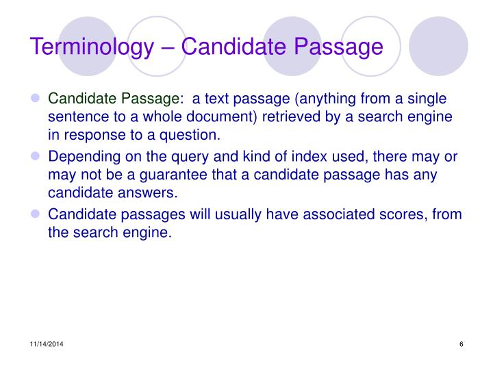 Terminology – Candidate Passage