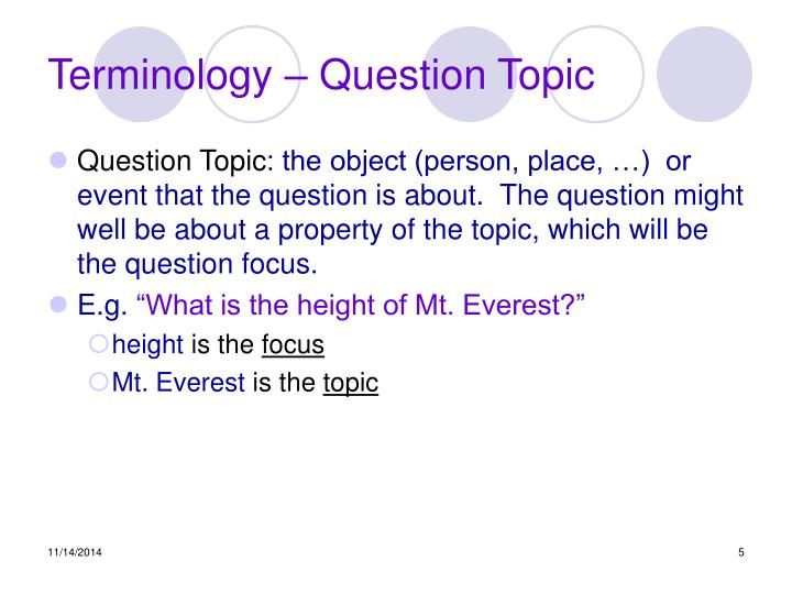 Terminology – Question Topic