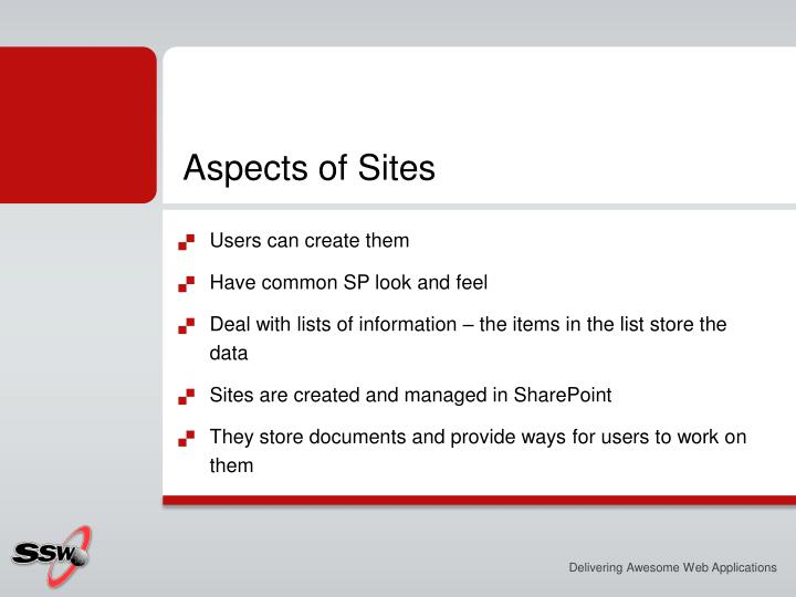 Aspects of Sites