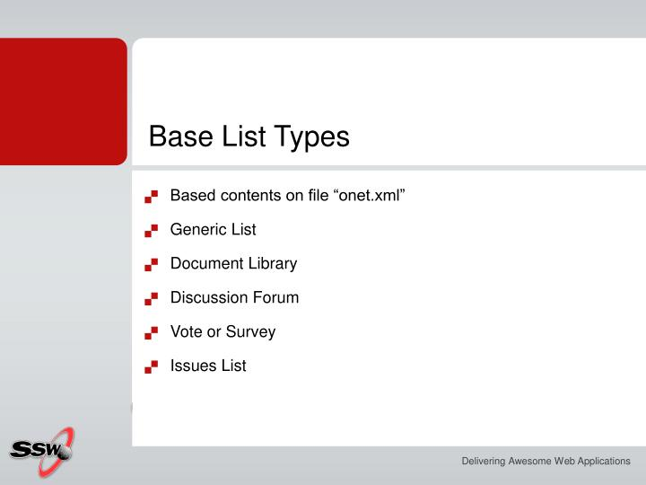 Base List Types