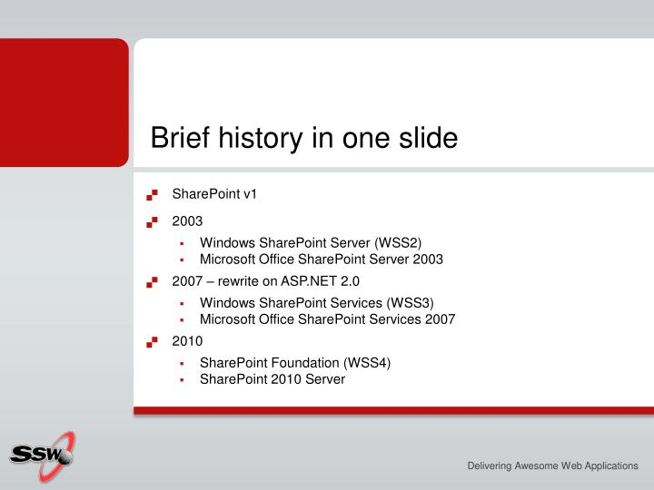Brief history in one slide