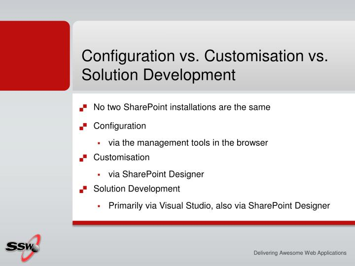 Configuration vs. Customisation vs. Solution