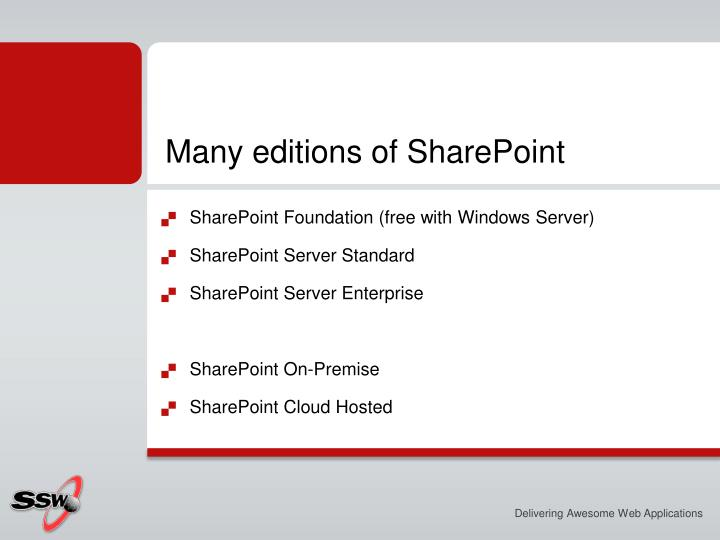 Many editions of SharePoint
