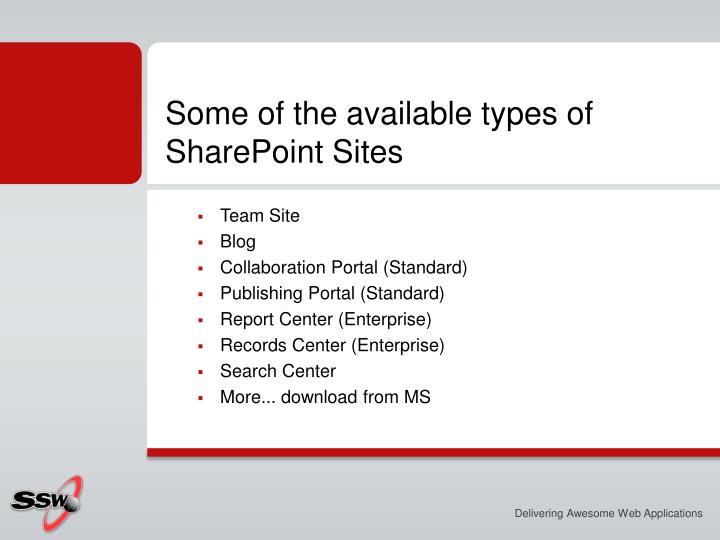 Some of the available types of SharePoint Sites