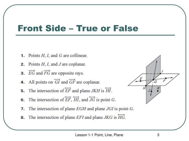 Front side true or false