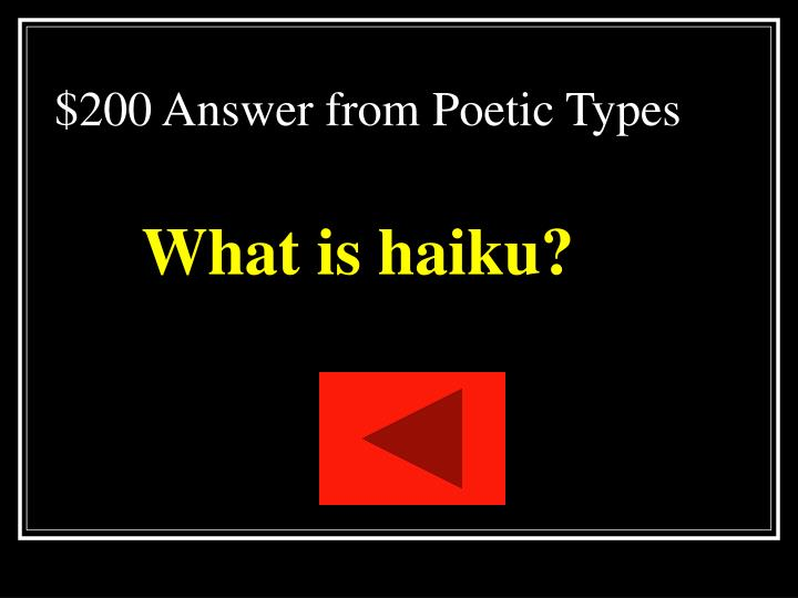 $200 Answer from Poetic Types