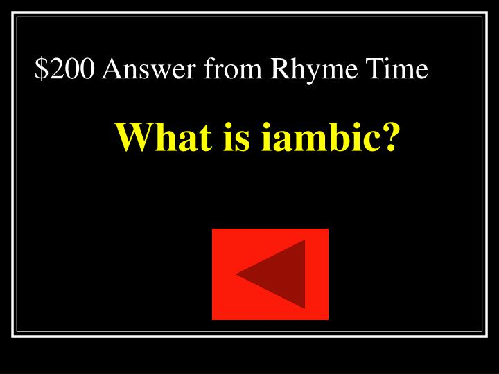 $200 Answer from Rhyme Time