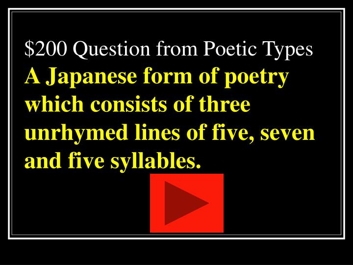 $200 Question from Poetic Types