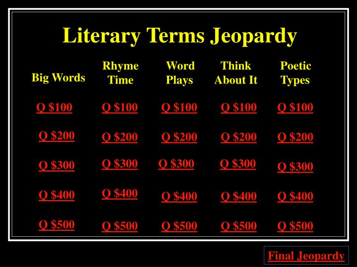 Literary terms jeopardy1