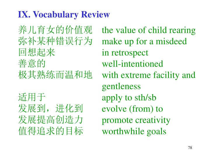IX. Vocabulary Review