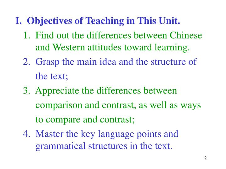 I.  Objectives of Teaching in This Unit.