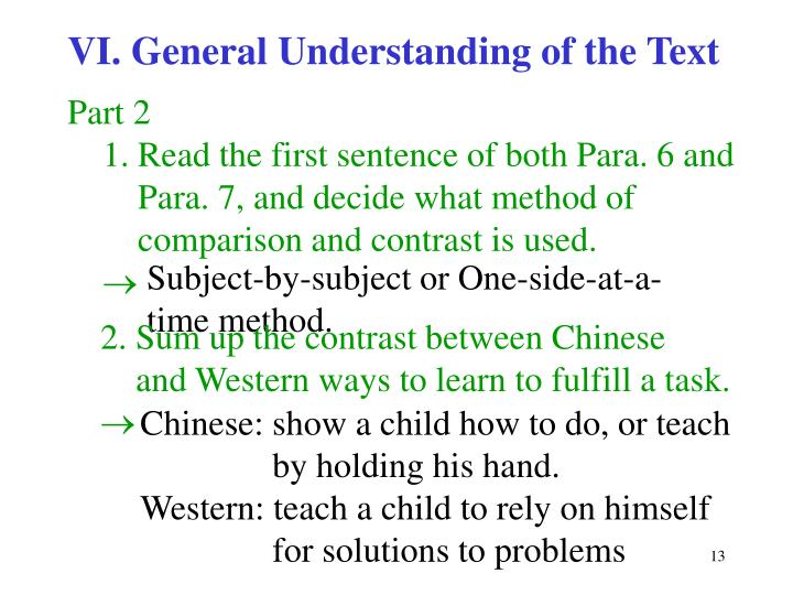 VI. General Understanding of the Text