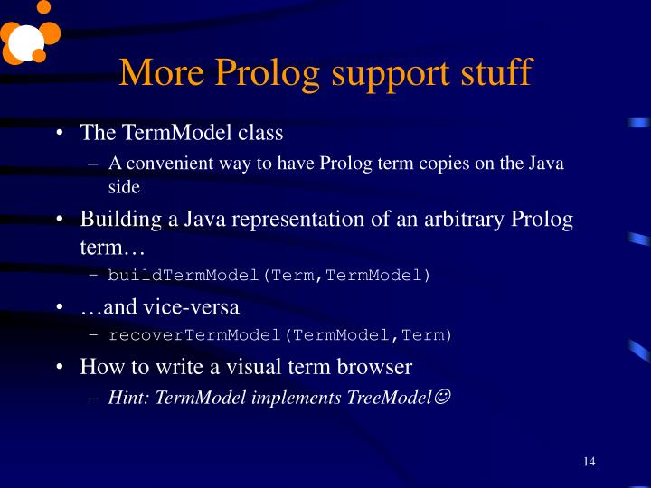 More Prolog support stuff