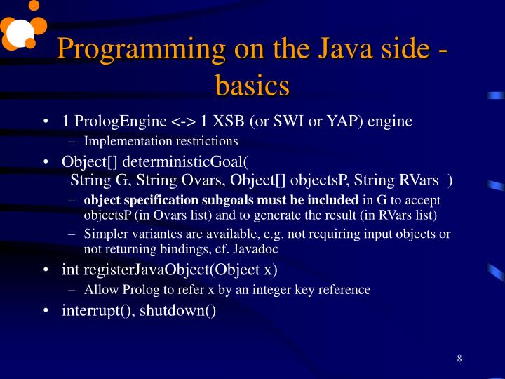 Programming on the Java side - basics