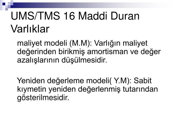 UMS/TMS 16 Maddi Duran Varlıklar