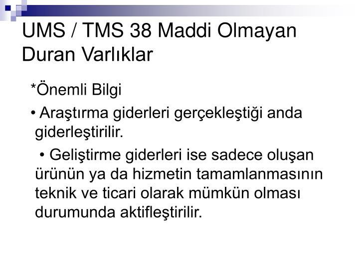 UMS / TMS 38 Maddi Olmayan Duran Varlıklar
