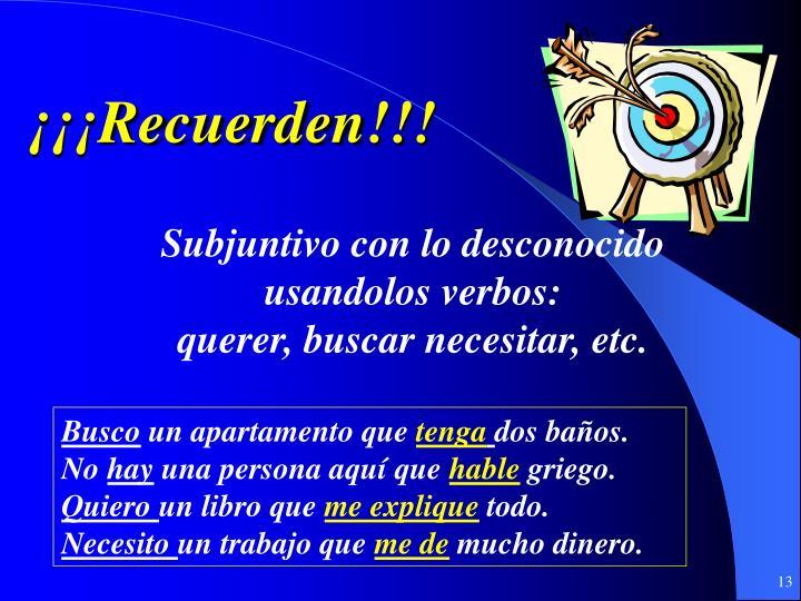 ¡¡¡Recuerden!!!