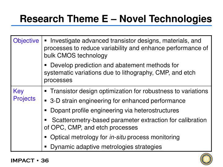 Research Theme E – Novel Technologies