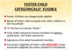 foster child categorically eligible