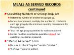 meals as served records continued