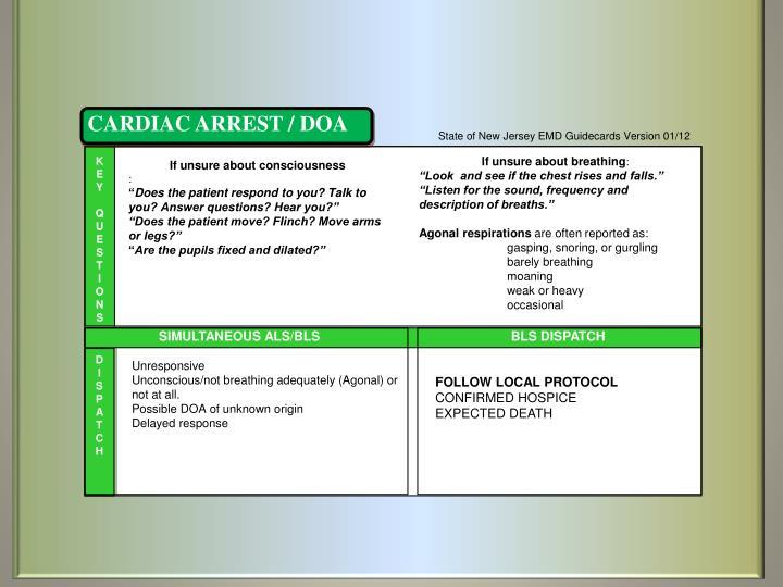 CARDIAC ARREST / DOA